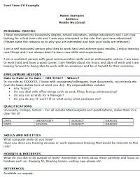 Resume Examples First Job by First Time Resume Examples