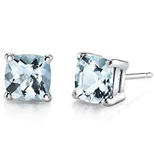 aquamarine stud earrings 14 karat white gold cushion cut 1 50 carats aquamarine