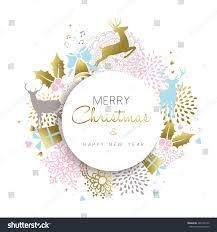 merry christmas happy new year illustration stock vector 487408156