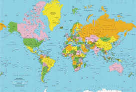 world maps classic colors world political wall map