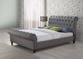 Grey Sleigh Bed Chesterfield Sleigh Grey Fabric 5ft 150cm King Size Bed