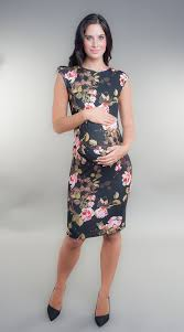 maternity occasion wear black floral printed maternity dress