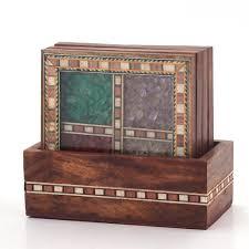 little india antique design gemstone tea coaster set of 4