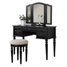 black makeup desk with drawers shop makeup vanities at lowes com