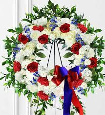 white blue sympathy wreath avas flowers