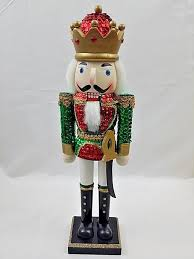 vintage sequined jeweled glittered nutcracker soldier king 14 inch