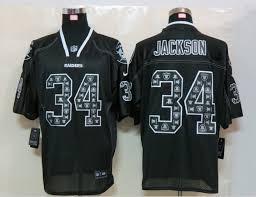 nfl lights out black jersey new nike okaland raiders 34 jackson lights out black elite jerseys