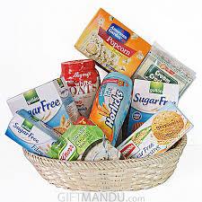 sugar free gift baskets sugar free cookies horlicks soup and more in basket 9 items