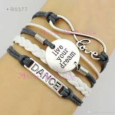 charm bracelet leather images Infinity dance live your dream charm wrap bracelets ballet dancer jpg