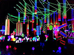 neon party neon flagging on hulla hoop glow party decoration 50 th