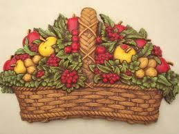 wall fruit basket vintage homco fruit basket plaque wall for 70s retro kitchen