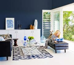 eclectic living room decorating ideas with navy blue wall color