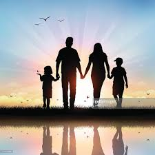happy family with children walking at sunset time vector