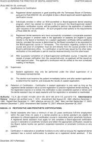 Certification Approval Letter Rules Of Tennessee State Board Of Dentistry Chapter Rules