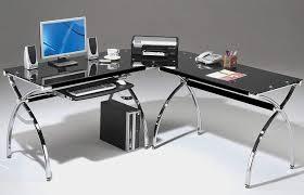 Glass Corner Computer Desks For Home Corner Computer Desk Black Glass L Shaped W Keyboard Pics With