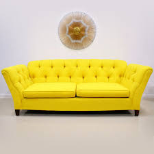 Modern Yellow Sofa 1960s 70s Bright Yellow Button Tufted Sofa The Modern Historic