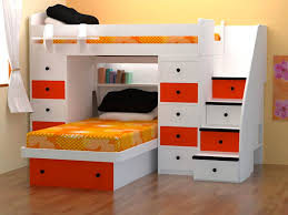 Space Saving Bedroom Ideas Ikea Space Saver Bunk Beds With White And Orange Wood Combine