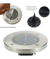 outdoor solar lights with on off switch waterproof solar powered led disk lights