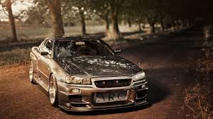 vintage nissan skyline nissan skyline gt r r34 tuning road photo wallpaper 1920x1080