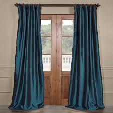 Teal Taffeta Curtains Meditteranean Blackout Faux Silk Taffeta Curtains