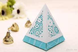 baby shower guest gifts wedding favors gifts boxes special pyramid shape laser cut flowers