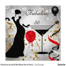 50th Birthday Invitation Cards Fabulous 50 50th Birthday Party Deco Lady Red 2 Card 50 Birthday