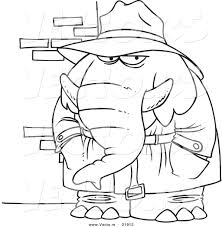 vector of a cartoon detective elephant outlined coloring page by