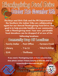 the southern ute drum thanksgiving food drive