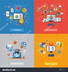 design online education flat design vector illustration concepts of education and online