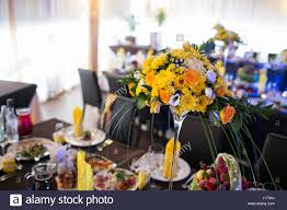 beautiful flowers on table in wedding day yellow flowers and