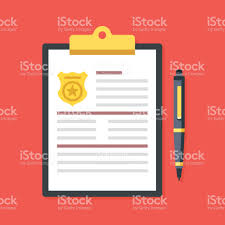 clipboard police badge pen police report fine penalty vector