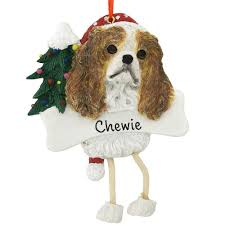 personalized king charles cavalier ornament with dangling legs