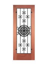 cava wine cellar door with wrought iron medallion