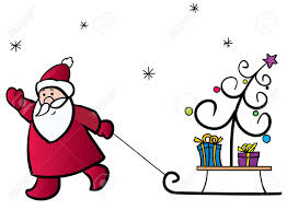 santa claus pulling a sledge with the christmas tree and gifts