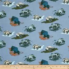 white jeep with teal accents from riley blake and jeep this cotton print fabric features