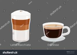 espresso macchiato coffee cups latte macchiato espresso on stock illustration