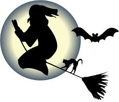 witch flying on a broom with a cat and bat in front of the moon png