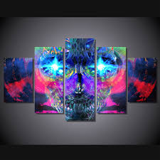 psychedelic home decor abstract 5 panels psychedelic skull oil painting artistic colorful