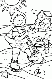kid on the beach coloring page for kids summer coloring pages