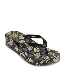 tory burch classic wedge flip flop printed thong at