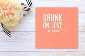 amazon com drunk on love party wedding cocktail napkins custom