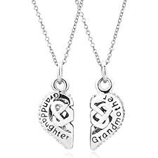 grandmother granddaughter necklace lovelyjewelry jewelry 2 pcs heart grandmother