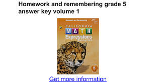 homework and remembering grade 5 answer key volume 1 google docs