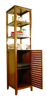 Bathroom Tower Shelves Glass Bath Shelf And Wood Bath Shelves Organize It