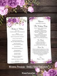 tea length wedding program slim wedding program blossoms floral purple lavender