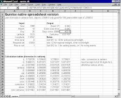 Sunrise Sunset Tables Sun Rise Set And Twilight Times Calculated Using A Simple