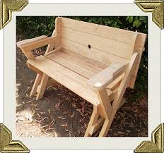 Free Plans For Outdoor Wooden Chairs by Folding Picnic Table To Bench Seat Free Plans How Awesome Is