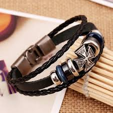 men bracelet cross images Men jewelry bracelet trendy leather braided bracelets cross charm jpg