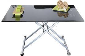 plateau verre trempé bureau table basse relevable rectangulaire avec plateau en verre