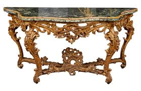 Italian Console Table Large Mid 18th Century Italian Rococo Giltwood Green Marble